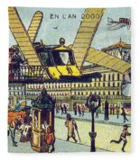 Flying Taxicabs, 1900s French Postcard Fleece Blanket