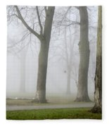 Fog Amongst The Trees Fleece Blanket