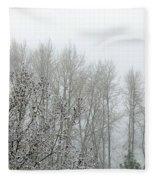 Fog And Light Snow Fleece Blanket