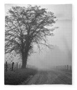 Fog Covered Lane Fleece Blanket