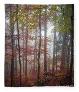 Fog In Autumn Forest Fleece Blanket