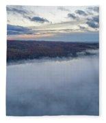 Fog On Goose Lake Fleece Blanket