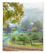 Fog On Sleepy Hollow Farm Fleece Blanket