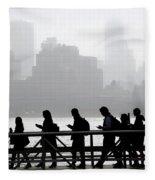 Fog On The Hudson Fleece Blanket