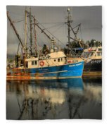 Fog Over Ucluelet Fishing Port Fleece Blanket