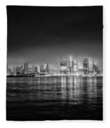 Fog Shrouded Midtown Manhattan In Black And White Fleece Blanket
