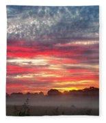 Foggy Carpet Over South Carolina Cattle Farm Fleece Blanket by Alex Grichenko