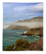 Foggy Day At Big Sur Fleece Blanket