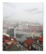 Foggy Day At Lisbon. Portugal Fleece Blanket