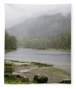 Foggy Day At Loch Lubnaig Fleece Blanket