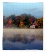 Foggy Fall Reflections Fleece Blanket