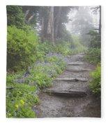 Foggy Forest Path Fleece Blanket