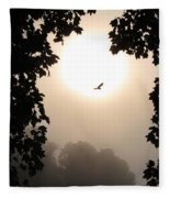 Foggy Heron Flight Fleece Blanket