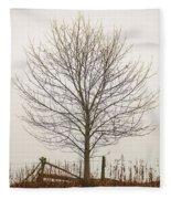 Foggy Lone Tree Hill Fleece Blanket