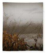 Foggy Morning Marsh Fleece Blanket