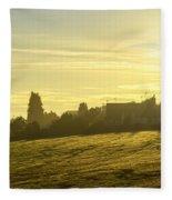 Foggy Morning Over Kennet Village Fleece Blanket