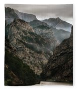 Foggy Mountains Over Neretva Gorge Fleece Blanket