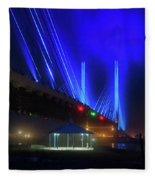 Foggy Night At The Indian River Bridge Fleece Blanket