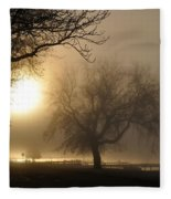 Foggy November Sunrise On The Bay Fleece Blanket