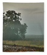 Foggy Tree In The Field Fleece Blanket