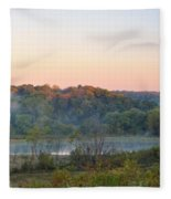 Foggy Valley Panorama Fleece Blanket