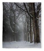 Foggy Vermont Winter Path Fleece Blanket