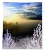 Foggy Winter Sunset Fleece Blanket