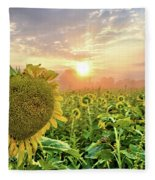 Foggy Yellow Fields 3 Fleece Blanket