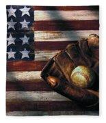 Folk Art American Flag And Baseball Mitt Fleece Blanket