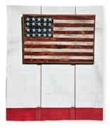 Folk Art American Flag On Wooden Wall Fleece Blanket