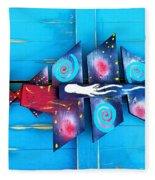 Folk Art Galactic Space Fish Fleece Blanket