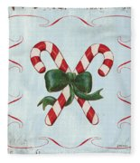 Folk Candy Cane Fleece Blanket