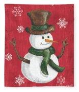 Folk Snowman Fleece Blanket
