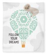 Follow Your Dreams Sloth- Art By Linda Woods Fleece Blanket