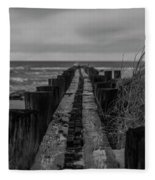 Folly Beach Anti Erosion Pier Fleece Blanket