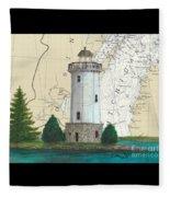 Fon Du Lac Lighthouse Wi Nautical Chart Map Map Fleece Blanket
