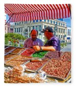 Food Booth In Valparaiso Square-chile Fleece Blanket