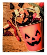 Food For The Little Halloween Spooks Fleece Blanket