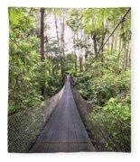 Foot Bridge In Costa Rica Fleece Blanket
