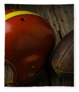 Football Helmet And Football Fleece Blanket