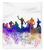 Football Players Skyline Fleece Blanket