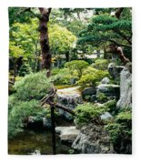 Footbridge Across A Pond, Kyoto Fleece Blanket