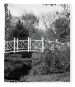 Footbridge In Black And White Fleece Blanket