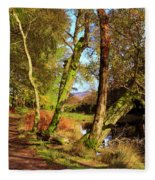 Footpath At The Edge Of Lantys Tarn In The Lake District Cumbria Fleece Blanket