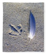 Footprint And Feather Fleece Blanket