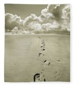 Footprints In Sand Fleece Blanket