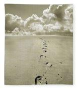 Footprints In Sand Fleece Blanket