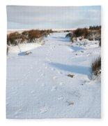 Footprints In The Snow V Fleece Blanket