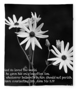 For God So Loved Black-eyed Susan Flower Fleece Blanket