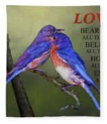 For Love Of Bluebirds And Scripture Fleece Blanket